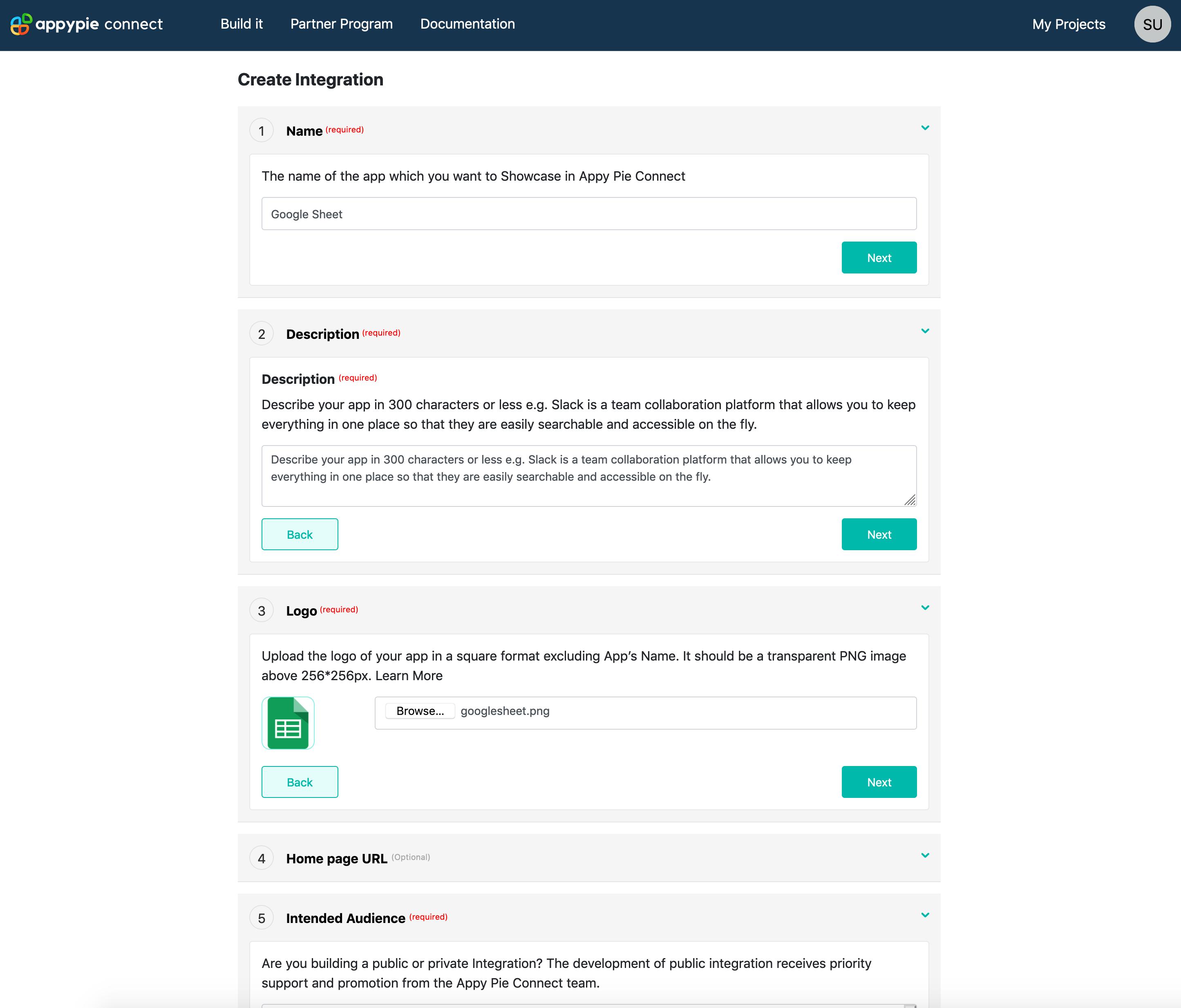 Create Integration Page Appy Pie Connect developer | AUTOMATION
