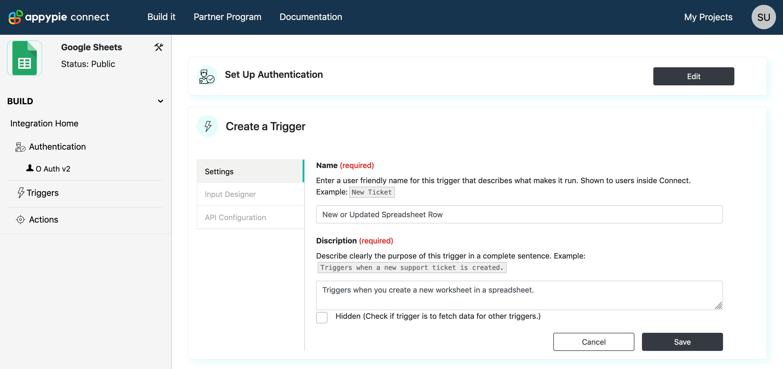 Configure Trigger Settings Appy Pie Connect developer | AUTOMATION