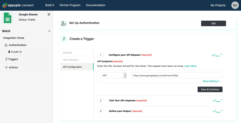 Trigger API Configure Request Appy Pie Connect developer | AUTOMATION