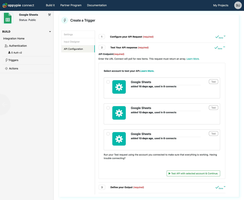 Trigger Test API Request Appy Pie Connect developer | AUTOMATION