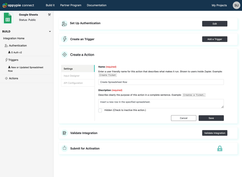 Configure Action Settings Appy Pie Connect developer | AUTOMATION