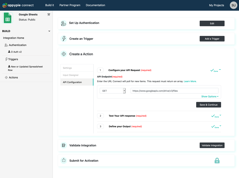 Action API Configure Request Appy Pie Connect developer | AUTOMATION